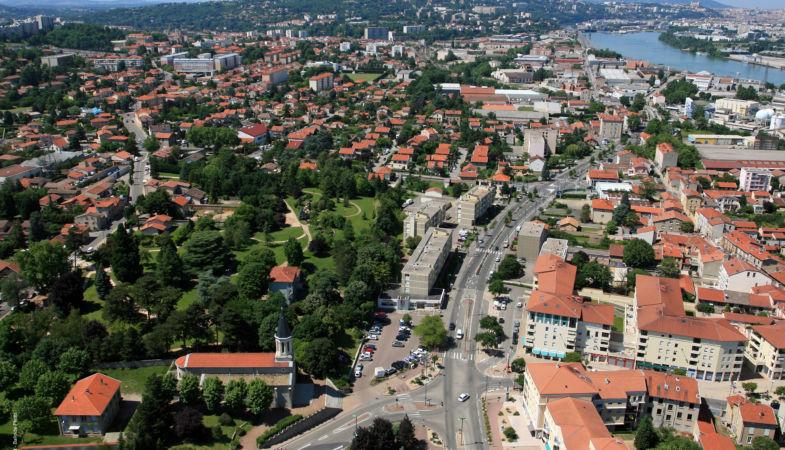vue aérienne du centre ville
